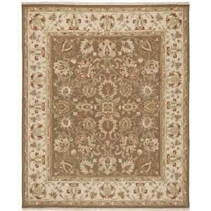 SUM434A Handmade Brown and Beige Wool Area Rug, 8 Feet by 10 Feet