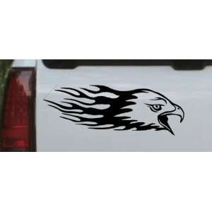 Black 12in X 4.2in    Flaming Eagle Head Car Window Wall Laptop Decal