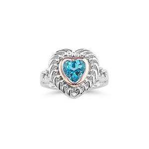 1.26 Cts Swiss Blue Topaz Heart Ring in Gold and Silver 4