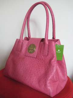 NWT KATE SPADE OSTRICH BEXLEY ANISHA LEATHER BAG PINK