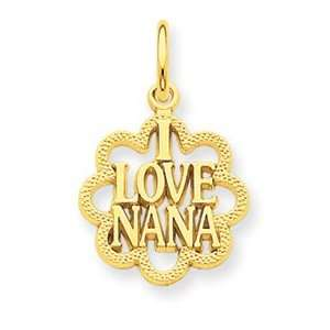 14k I Love Nana Charm   Measures 21.6x13.9mm   JewelryWeb Jewelry