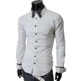 TheLees Mens long double collar cuff slim dress shirts Clothing