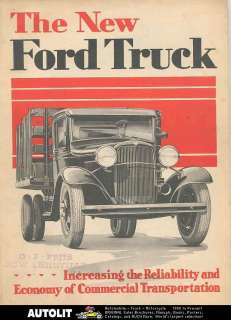 1932 Ford Truck Brochure Poster Roadster Pickup Woodie Wagon School