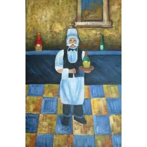 24X36 inch Abstract Art Oil Painting Waiter Portrait
