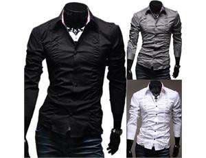 Freeship New Men Luxury Casual Slim Fit Stylish Dress Shirts 3Colors