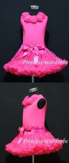 Hot Pink Pettiskirt Hot Pink Top and Hot Pink Rose 1 8Y