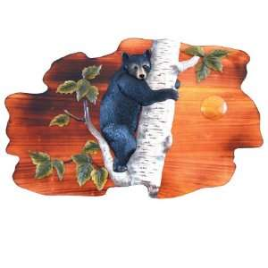 Black Bear Cub Climbing Birch Tree Wood Art