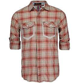 ROCK REVIVAL MENS ORANGE PLAID SHIRT RW5039L