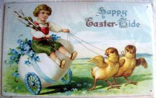 Metal Sign Happy Easter Tide Chicks Girl Egg Cart Spring Cute