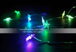 Crystal Sparkling Color Stars   USB Holiday LED Lights