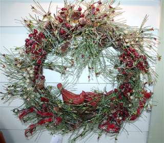 Heartfelt Home Christmas Iced Berries Pine & Cardinals Wreath Valerie
