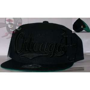 Chicago All Black Everything Series Snapback Hat Cap