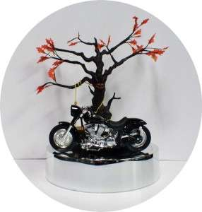 Wedding Cake Topper Harley Davidson Motorcycle Bike Haunted forest