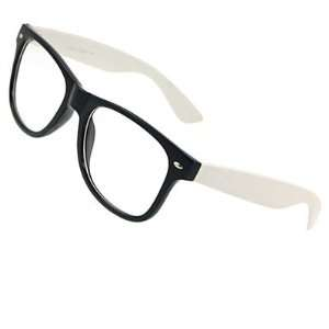 Como Lady Man White Arm Black Full Rim Plain Lens