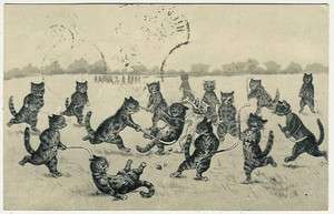 Cats, Louis Wain ?, Cats Playing Field Hockey, comic old postcard
