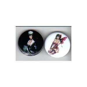 Bettie Page Pin / Button Set of 2