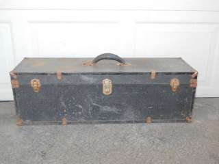 Antique Primitive Black Luggage Trunk Case 32x9x10