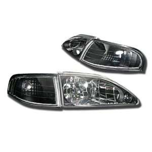 Ford Mustang Headlights Euro Black Headlights 1994 1995 1996 1997 1998