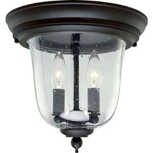 Ashmore Old World Style Black Flush Mount Outdoor Lantern