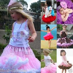 Baby Children Kids Girls Chiffon Tutu Dance wear Full Pettiskirt