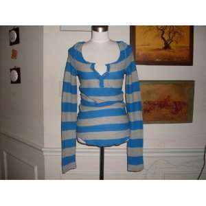 free people long sleeve thermal shirt top medium blue gray