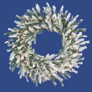 Frosted Dunhill Fir Christmas Wreath   Clear Lights