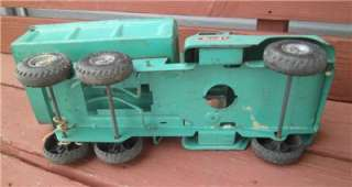 VINTAGE BUDDY L PRESSED STEEL BUTTERMILK GREEN DUMP TRUCK TOY PLASTIC
