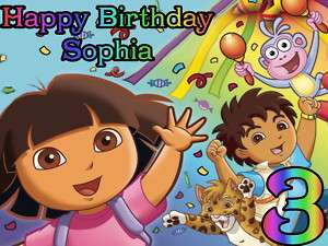 DORA the EXPLORER Edible CAKE Image Icing Topper DIEGO