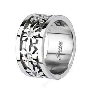 High Polished Stainless Steel Ring For Women with Multi Flowers around