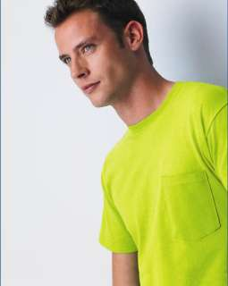 Gildan Ultra Cotton Pocket T Shirt Safety Green Orange