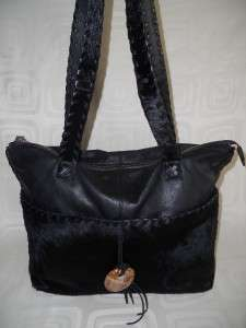 CLAUDIA FIRENZE Italian Black Soft Leather Calf Hair Large Tote