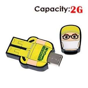 2G USB Flash Drive with Rubber Robot Doctor Shape (Yellow