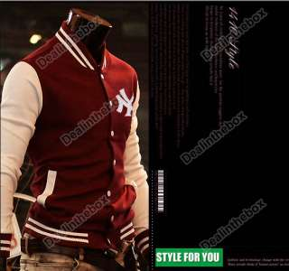 Mens Trendy Designed NY Baseball Slim Fit Coat Jacket Outerwear