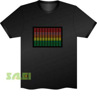 Black Music Sound Activated EL Equalizer DJ Disc LED T Shirt Colorful