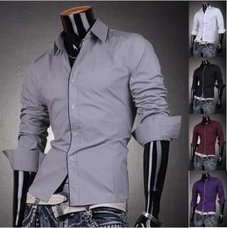 3mu Mens Designer Dress Shirts Casual Slim Matrix Lines 5 Color XS S M
