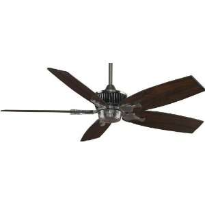 Pewter Louvre Tropical / Safari Five Bladed Indoor Ceiling Fan