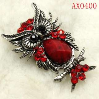Bright Red Crystal Antique Bronze Owl Brooch  AX0400