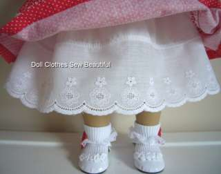 DOLL CLOTHES fits American Girl Red Polka Dot Dress Hat
