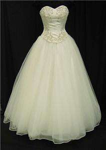 J2 Strapless 2 PC Ivory Tulle Princess Bridal Wedding Dress Gown Sz 10
