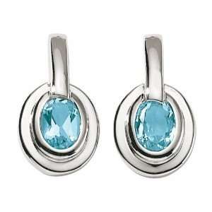 18ct White Gold Blue Topaz Earrings Jewelry