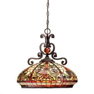 Dale Tiffany TH101034 Boehme 3 Light Ceiling Pendant in Antique Golden
