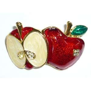 Red Enamel Split Apple Pin Jewelry