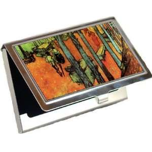 Les Alyscamps Falling Autumn Leaves By Vincent Van Gogh Business Card