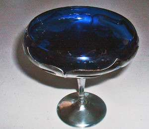ART DECO FARBER BROS COBALT BLUE & CHROME SM COMPOTE 1920S