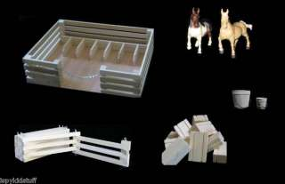 NATURAL Wood AMISH Horse Barn Farm Fence Stable TOYS