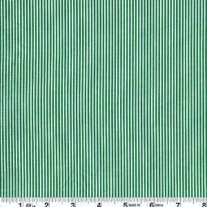 45 Wide Joys of Christmas Pin Stripe White/Green Fabric