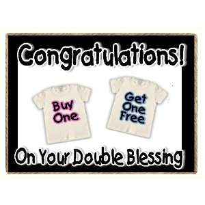 Funny Twins Double Blessing New Baby Gift Refrigerator Magnet
