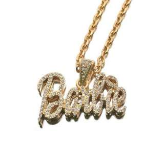 Nicki Minaj Iced Out BARBIE Pink Lip Pendant Necklace S