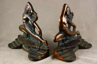 ANTIQUE ART DECO PIN UP GIRL CAST IRON FIGURAL BOOKENDS TAMBOURINE