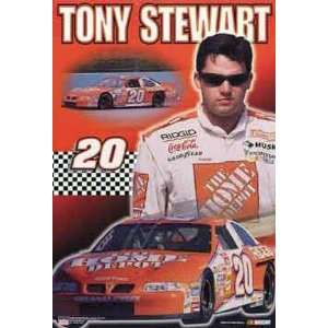 Tony Stewart (With Car) Black Wood Mounted Sports Poster